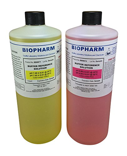 Biopharm pH Calibration Solution 2-Pack Quart (1 L) Bottles pH 4 and pH 7 Buffer NIST Traceable Reference Standards for All pH Meters