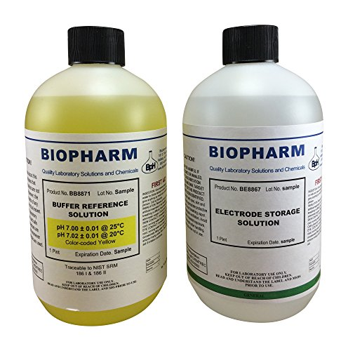 Biopharm pH Calibration Kit (2) 500 ml (16oz) Bottles pH 7.0 Buffer and Electrode Storage Solution NIST Traceable Reference Standard for All pH Meters