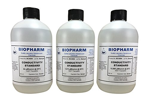 Conductivity Calibration Standard 3-Pack 500 ml each 84 uS, 1,413 uS and 12,880 uS