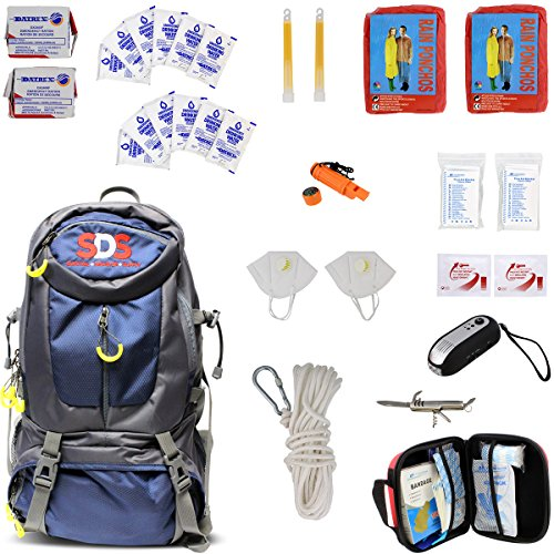 SDS | Survival Backpack Emergency Disaster Prepper Gear Bag Food Kit Earthquake, Zombie Apocalypse Supplies 2 Person 72 Hour