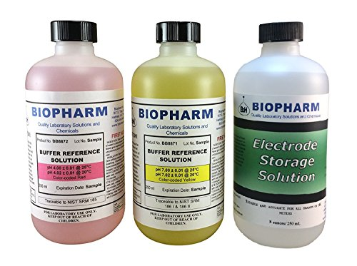Biopharm pH Calibration Solution Kit (3) 250 ml (8oz) Bottles pH 4.0, pH 7.0 and Electrode Storage Solution NIST Traceable Reference Standards for All pH Meters